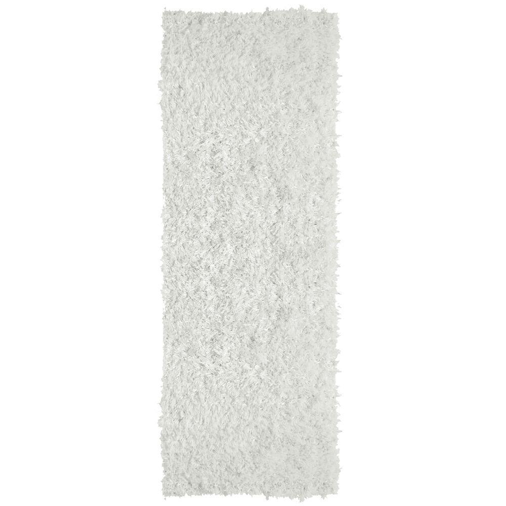 City Sheen White 4 ft. x 15 ft. Rug Runner