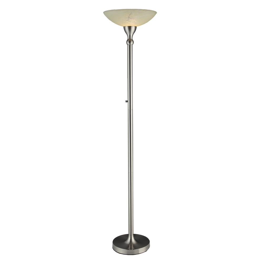 Satin Nickel Compact Fluorescent Torchiere Floor Lamp With Hand Painted  Alabaster