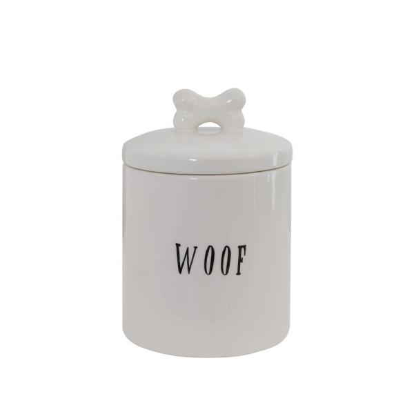 ''Woof'' Jar with Bone Shaped Handle on Lid