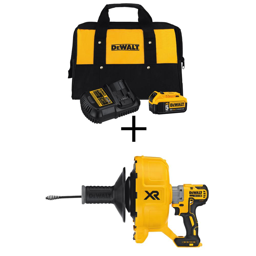DEWALT 20-Volt MAX XR Starter Kit with Battery Pack 5.0Ah, Charger and Kit Bag w/ Bonus Cordless Drain Snake (Tool-only)