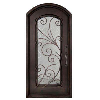 46 in. x 97.5 in. Flusso Classic Full Lite Painted Oil Rubbed Bronze Wrought Iron Prehung Front Door