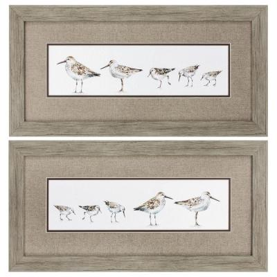 """13 in. x 26 in. """"Pebbles & Sandpipers PK/2"""" Framed Wall Art"""