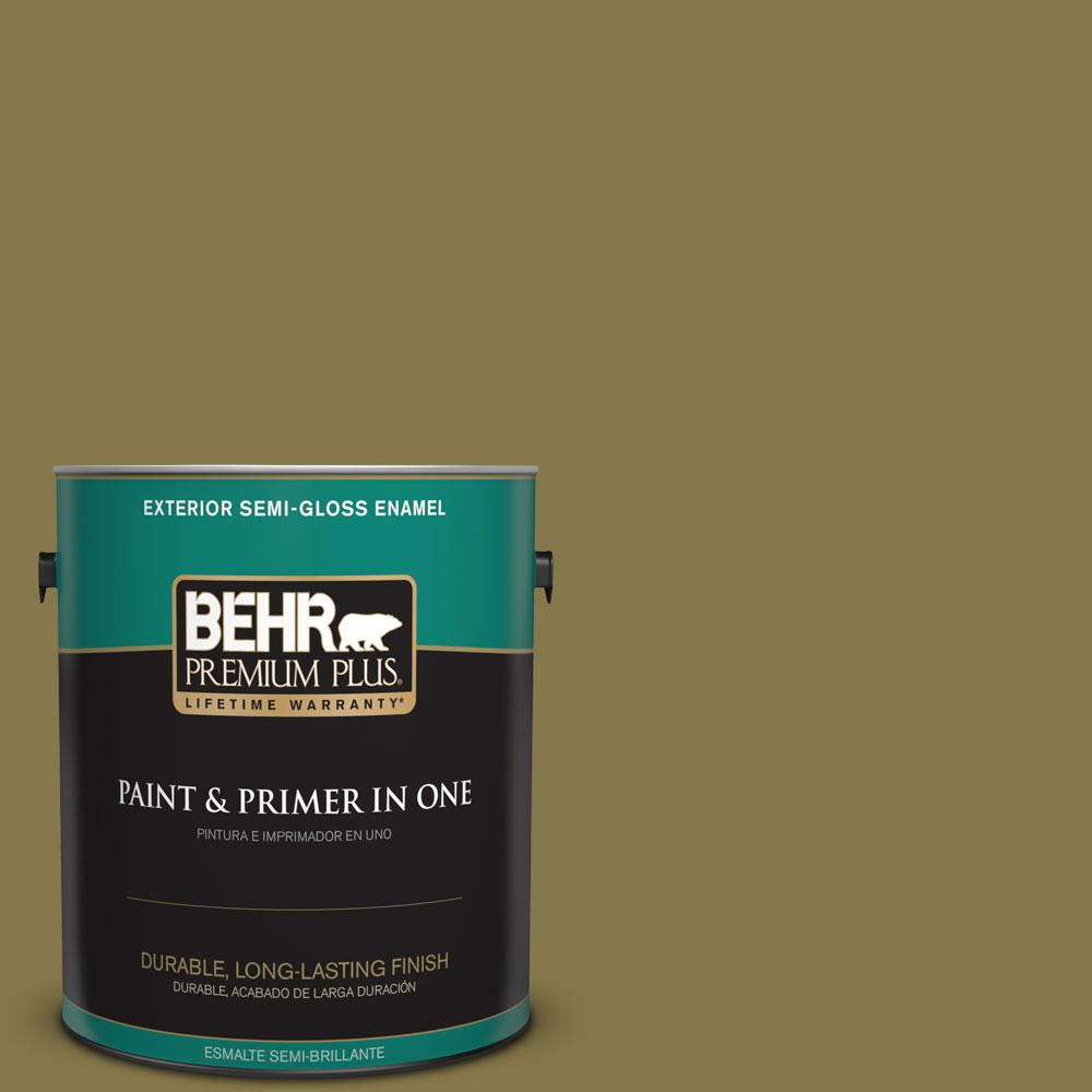 1-gal. #M330-7 Green Tea Leaf Semi-Gloss Enamel Exterior Paint