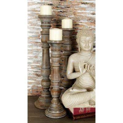 Whitewash Walnut Mango Wood and Iron Candle Holder (Set of 3)