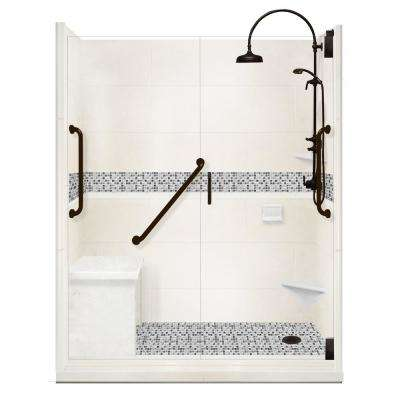 Del Mar Freedom Luxe Hinged 34 in. x 60 in. x 80 in. Right Drain Alcove Shower Kit in Natural Buff and BK Pipe Hardware