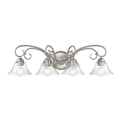 Homestead 4-Light in Pewter Vanity Light with Clear Glass