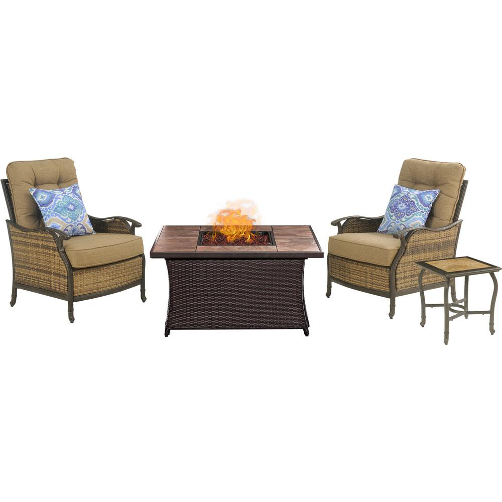 Hanover Hudson Square 3 Piece Patio Fire Pit Conversation Set With Tan Tile  Top And