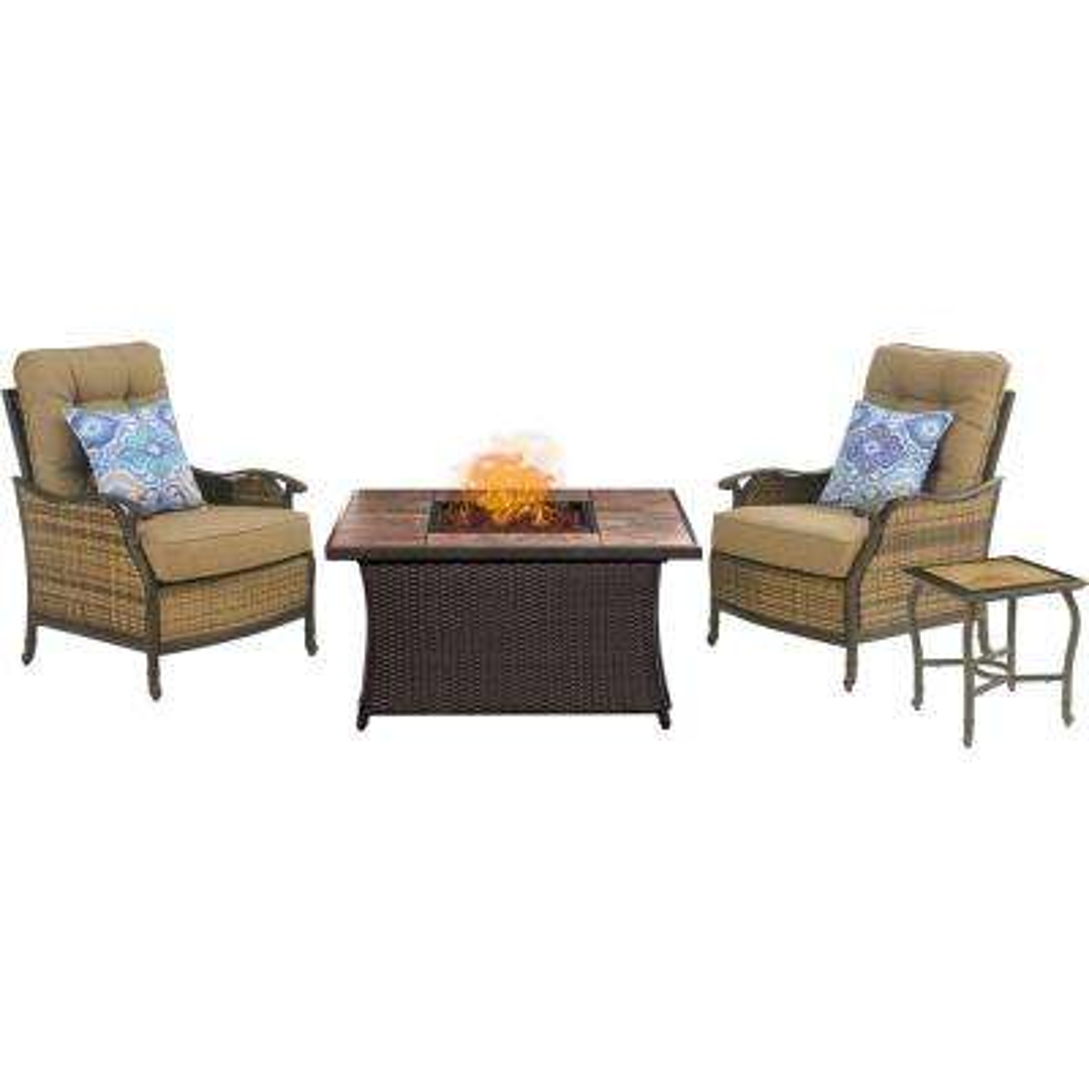 Hudson Square 3-Piece Patio Fire Pit Conversation Set with Tan Tile Top and Teak Cushions