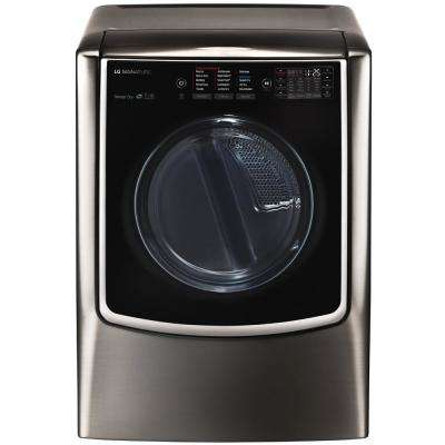 9.0 cu. ft. Smart Gas Dryer with Turbo Steam and WiFi Enabled in Black Stainless Steel