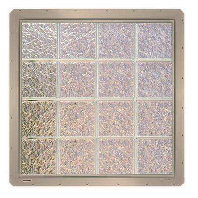 31.75 in. x 31.75 in. x 3.25 in. Ice Pattern Vinyl Glass Block Window with Clay Colored Nailing Fin