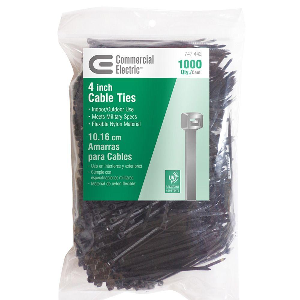 20b436b4e545 Commercial Electric 4 in. UV Cable Tie - Black (1000-Pack)-GT-100MB ...