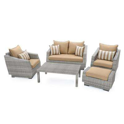 Cannes 5-Piece Aluminum All-Weather Wicker Patio Love and Club Seating Set with Maxim Beige Cushions