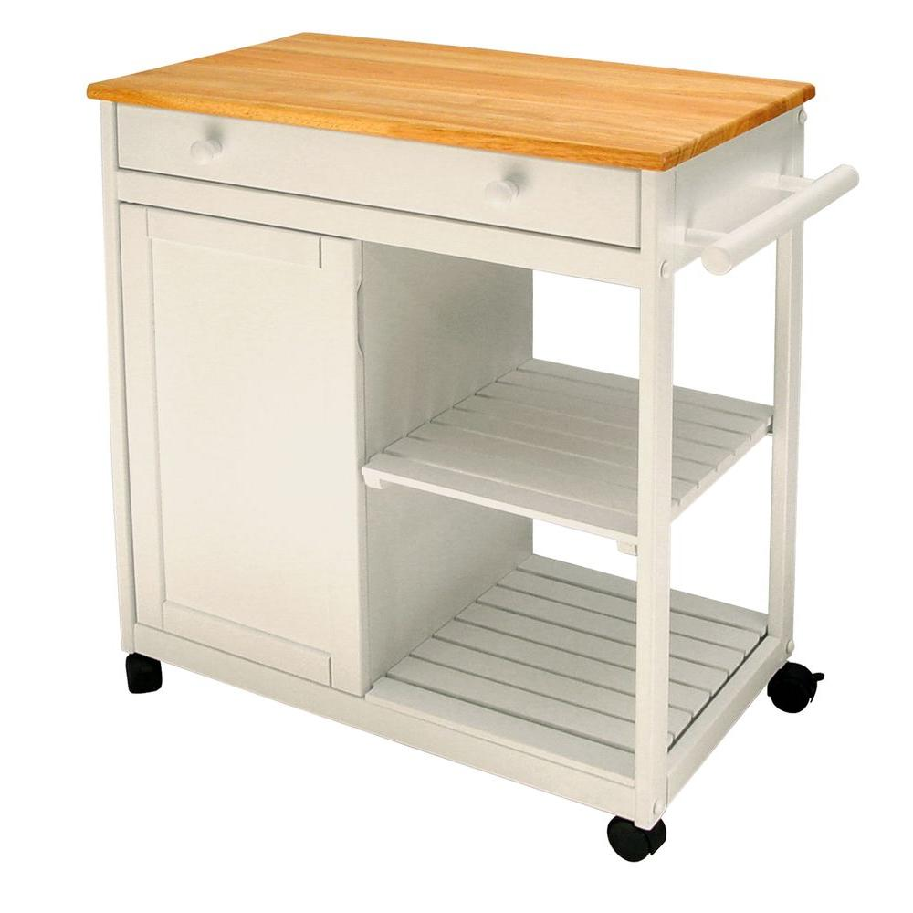Cottage White Kitchen Cart With Storage