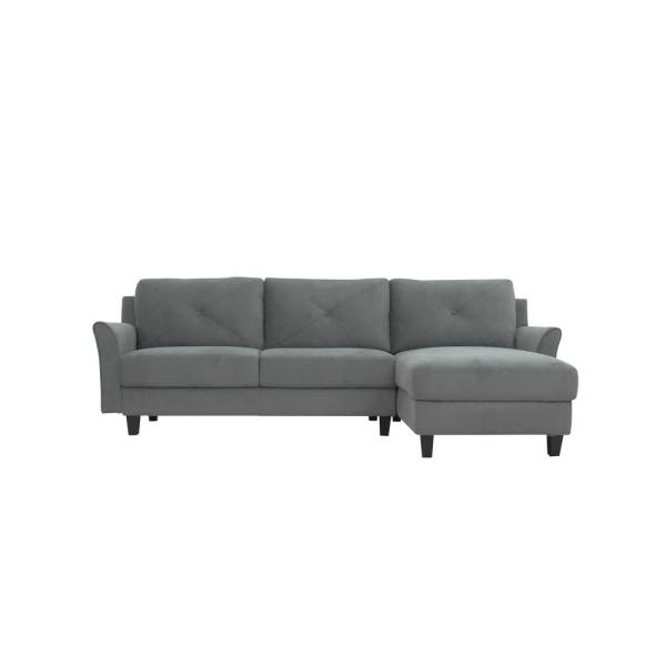 Harvard Dark Grey Sectional Sofa with Curved Arms
