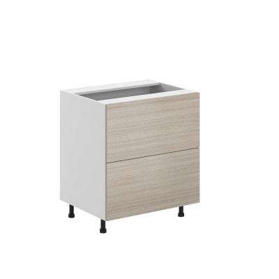Ready to Assemble 30x34.5x24.5 in. Geneva 2-Deep Drawer Base Cabinet in White Melamine and Door in Silver Pine
