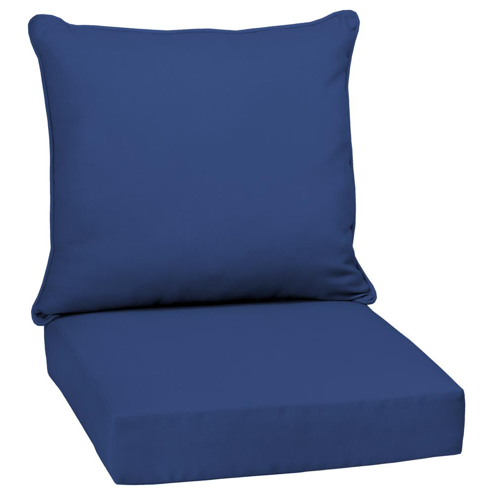 Lapis Canvas Texture 2-Piece Deep Seating Outdoor Lounge Chair Cushion