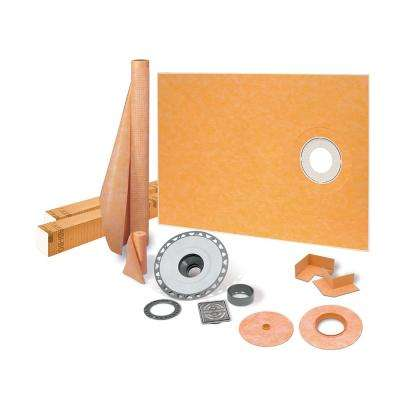 Kerdi-Shower-Kit 38 in. x 60 in. Off-Center Shower Kit in PVC with Stainless Steel Drain Grate