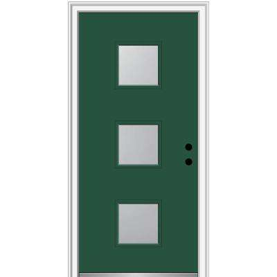 32 in. x 80 in. Aveline Left-Hand Inswing 3-Lite Frosted Glass Painted Steel Prehung Front Door on 4-9/16 in. Frame