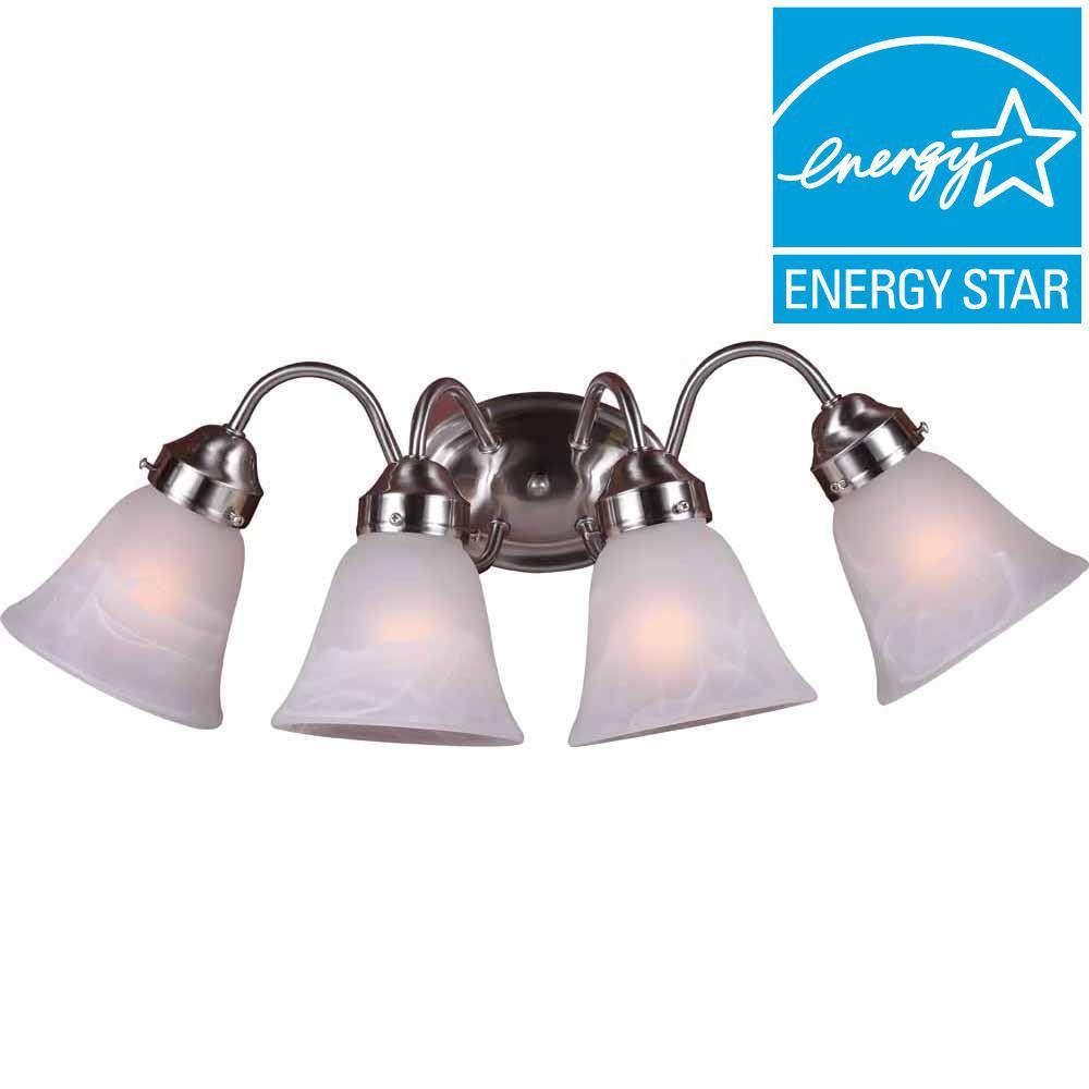 Lenor 4-Light Brushed Nickel Incandescent Wall Bath Vanity Light