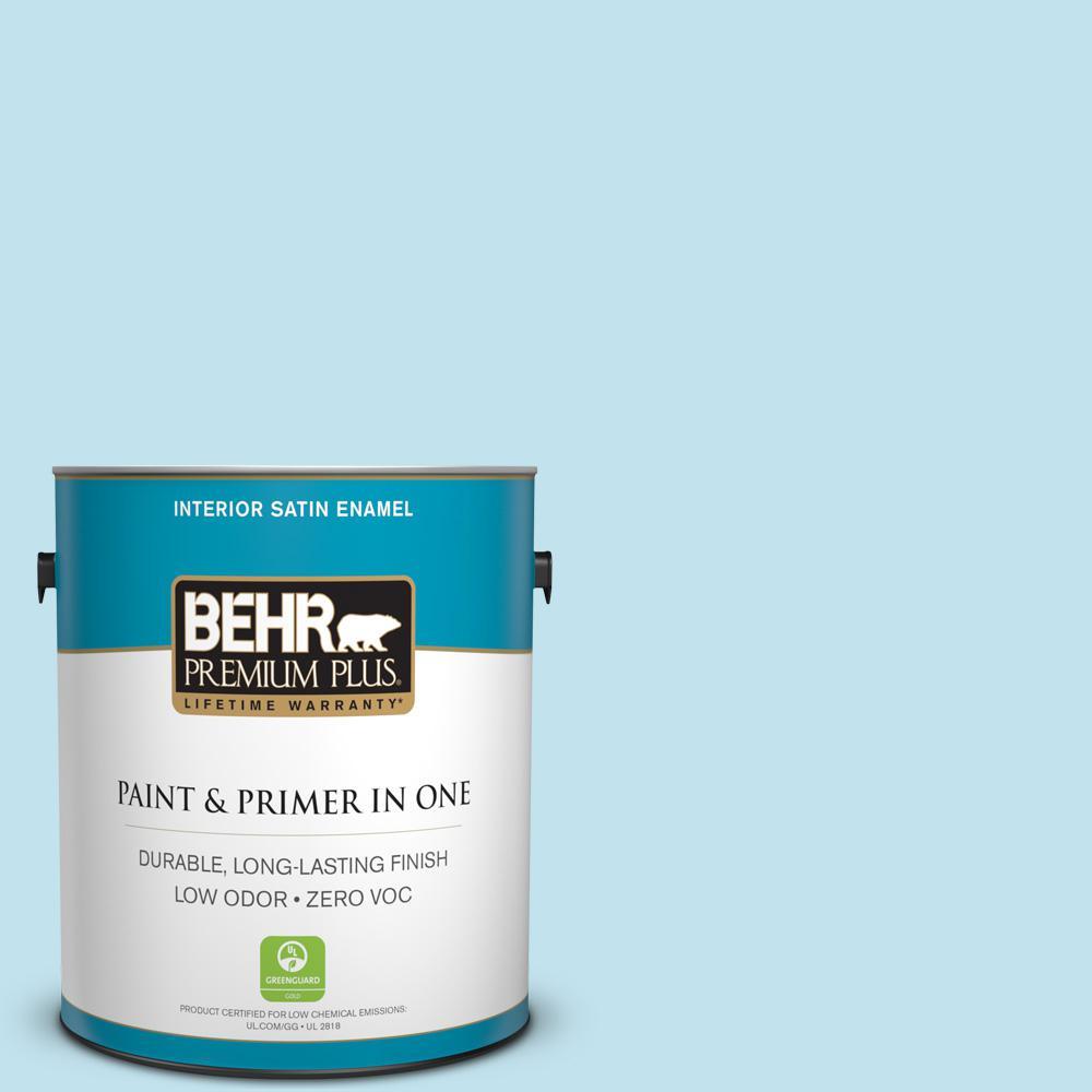 BEHR Premium Plus 1-gal. #540C-2 Serene Sky Zero VOC Satin Enamel Interior Paint