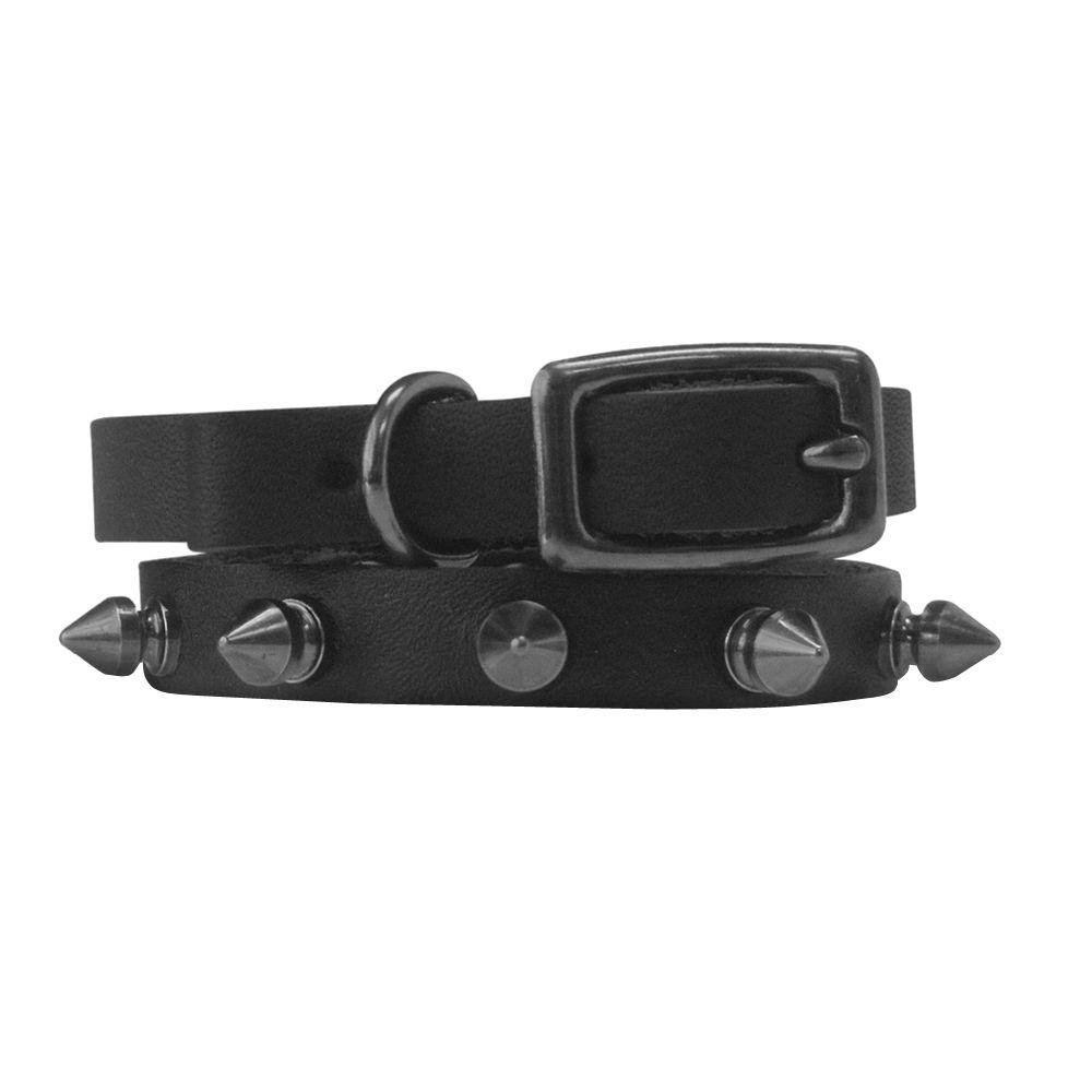 Platinum Pets 10 in. Black Genuine Leather Cat/Puppy Collar in Black Spikes