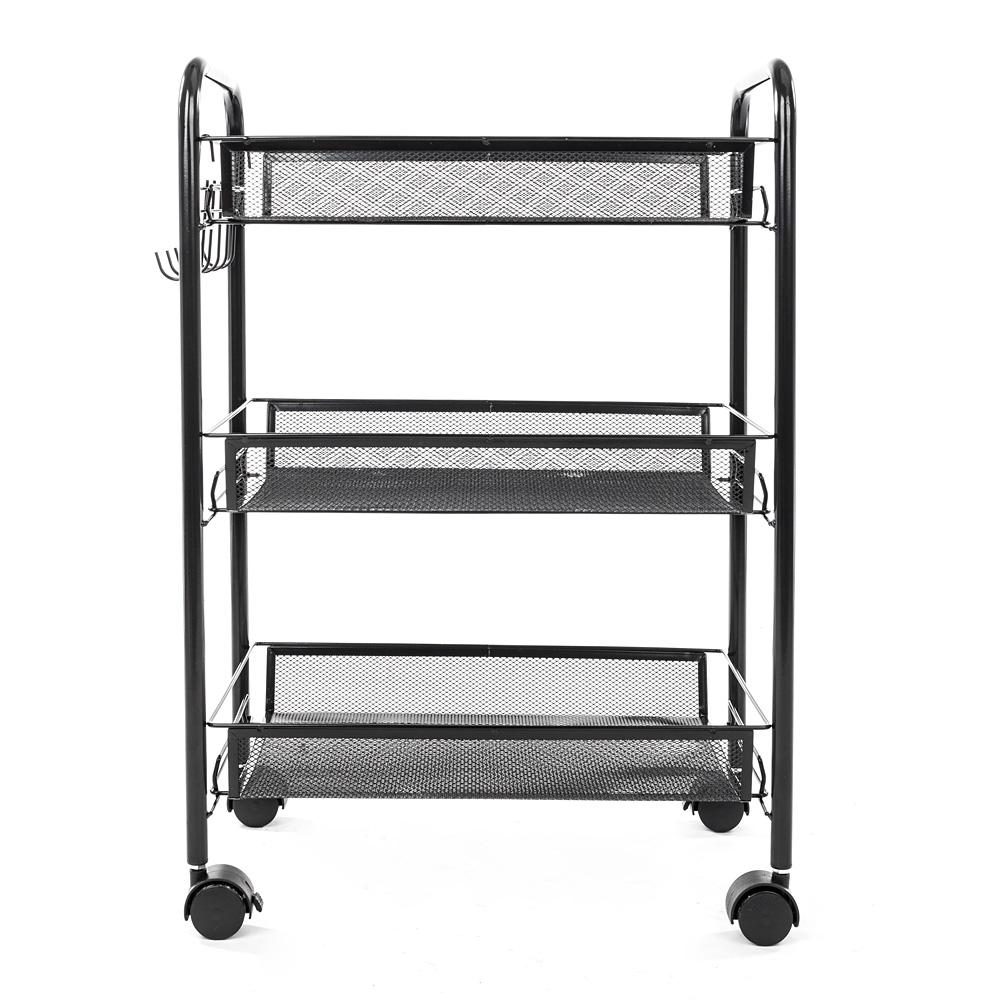 Honeycomb Net 3-Tier book Storage Cart with Hook in Black  sc 1 st  The Home Depot & Honeycomb Net 3-Tier book Storage Cart with Hook in Black-13028944 ...