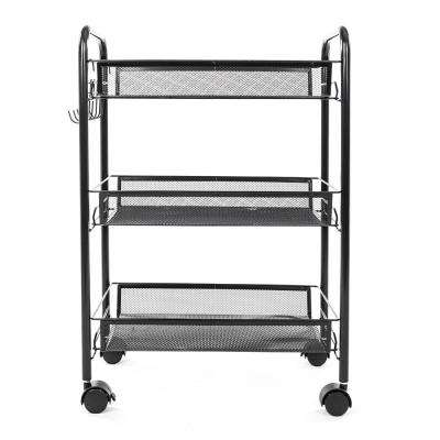 Exquisite Honeycomb Net 3-Tier Garment Storage Cart with Hook in Black