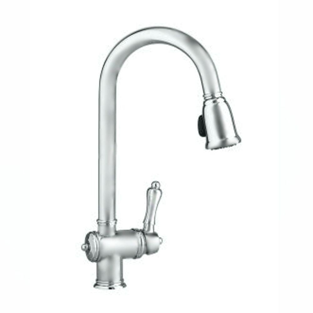 JADO Victorian Collection Single-Handle Pull-Down Sprayer Kitchen Faucet in Brushed Nickel-DISCONTINUED