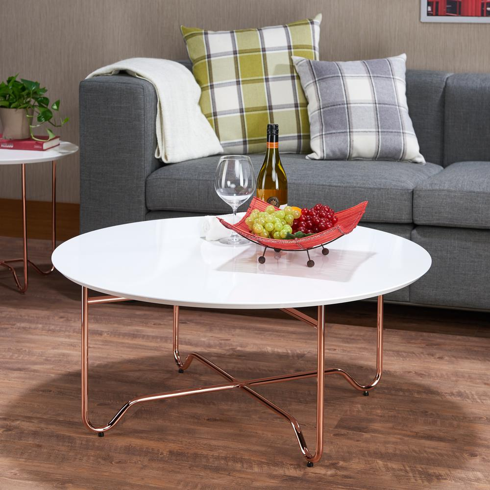 acme furniture canty coffee table in white and rose gold 81860 the home depot. Black Bedroom Furniture Sets. Home Design Ideas