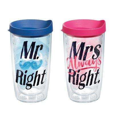 Mr Right Mrs 16 oz. Right Heart Tumblers (2-Pack)