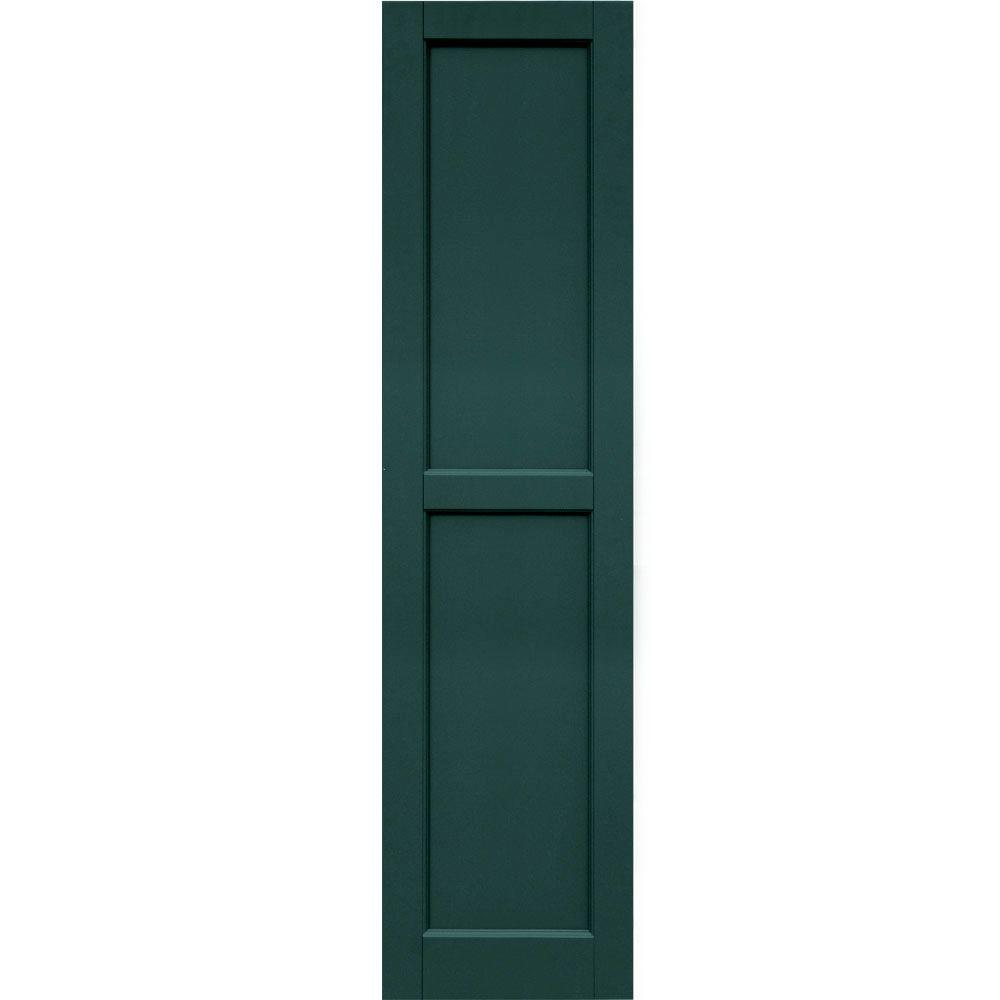 Winworks Wood Composite 15 in. x 60 in. Contemporary Flat Panel Shutters Pair #633 Forest Green
