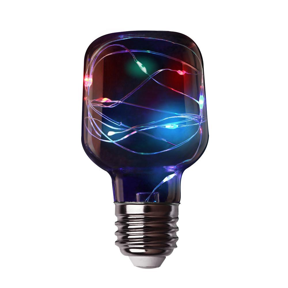 11-Watt Equivalent T20 Tube E26 Multi-color Fairy Light Clear Glass LED Light Bulb