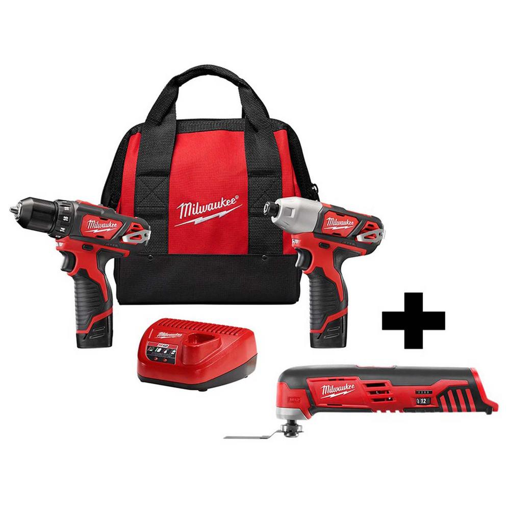 Milwaukee M12 12-Volt Lithium-Ion Cordless Drill Driver/Impact Driver Combo Kit (2-Tool) W/ Free M12 Oscillating Multi-Tool