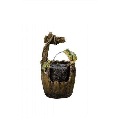 21 in. Old Fashioned Wood Barrel with Frogs Fountain