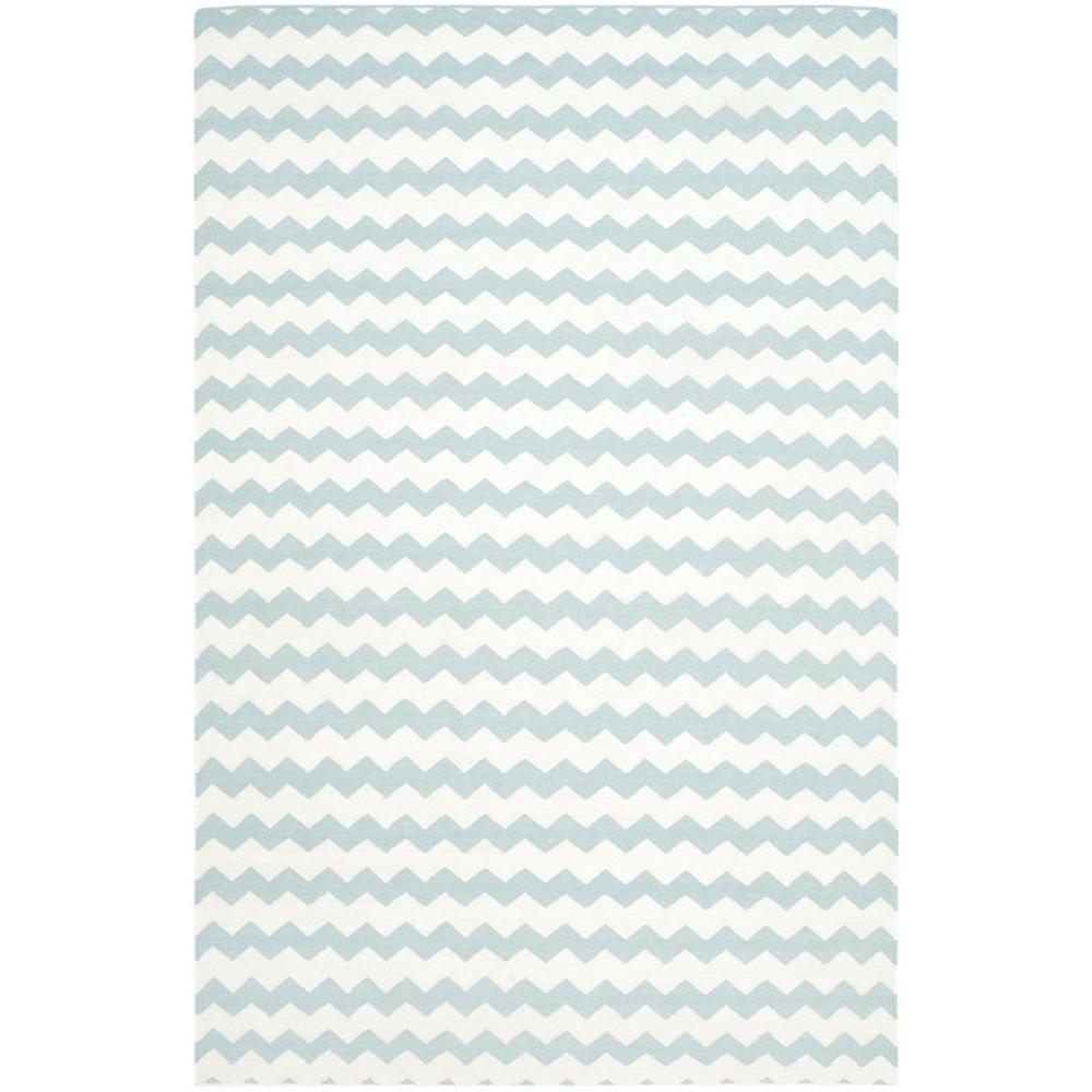 Dhurries Ivory/Blue 6 ft. x 9 ft. Area Rug
