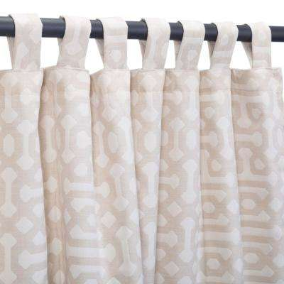 50 in. x 108 in. Outdoor Single Curtains with Tabs in Fretwork Flax