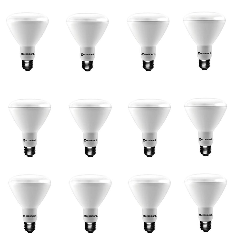 EcoSmart 65-Watt Equivalent BR30 Dimmable CEC LED Light Bulb Daylight (12-Pack)