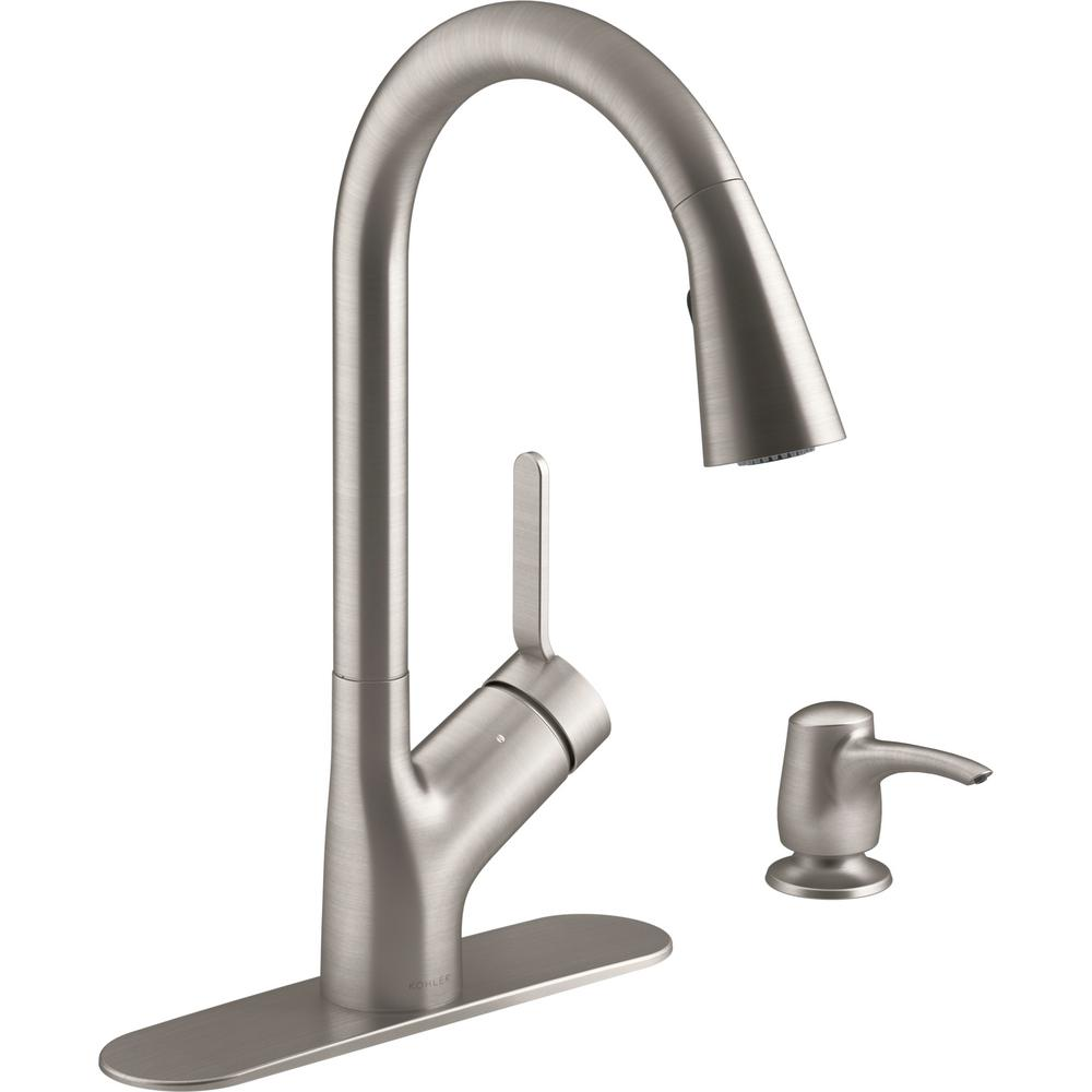 KOHLER KOHLER Setra Single-Handle Voice Activated Pull-Down Sprayer Kitchen Faucet with Konnect in Vibrant Stainless