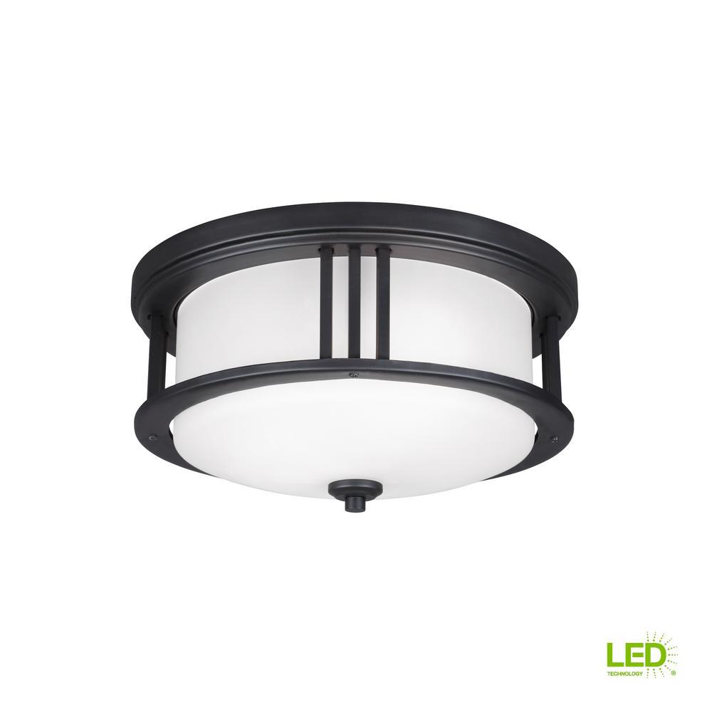 Crowell Black 2-Light Outdoor Flush Mount with LED Bulbs