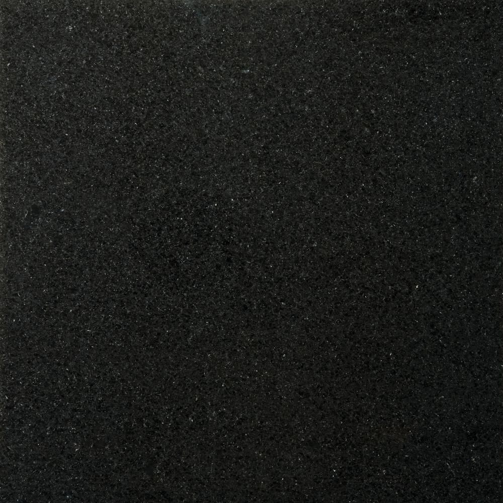 Emser Granite Absolute Black Polished 12.01 in. x 12.01 in. Granite Floor and Wall Tile