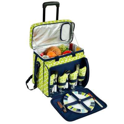 Deluxe Picnic Cooler with Wheels for 4 in Trellis Green