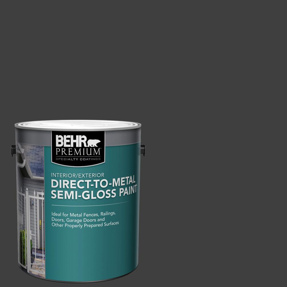 Behr Premium 1 Gal Black Semi Gloss Direct To Metal Interior Exterior Paint 322001 The Home Depot
