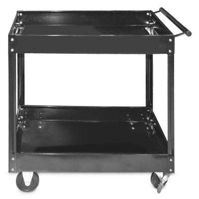 16 in. 2-Shelf Steel Service and Tool Utility Cart in Black
