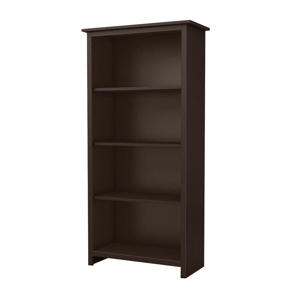 South Shore Mill 4-Shelf Bookcase in Chocolate