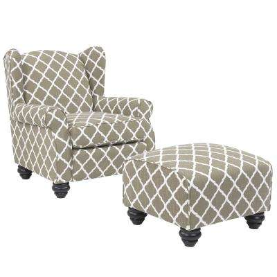 Barley Tan Trellis Hana Chair And Ottoman Set