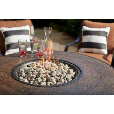 South Grove 5-Piece Aluminum and Steel Patio Gas Fire Pit Conversation Set with Cashew Cushions