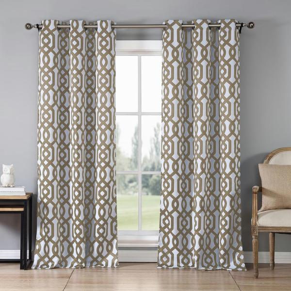 Ashmont 38 in. x 84 in. L Polyester Blackout Curtain Panel in Taupe (2-Pack)