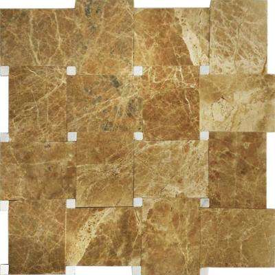 Carrera/Brown, Khaki Marble, 12 in. x 12 in. x 8 mm Stone Floor and Wall Mesh-Mounted Tile (10 sq. ft. / Case)