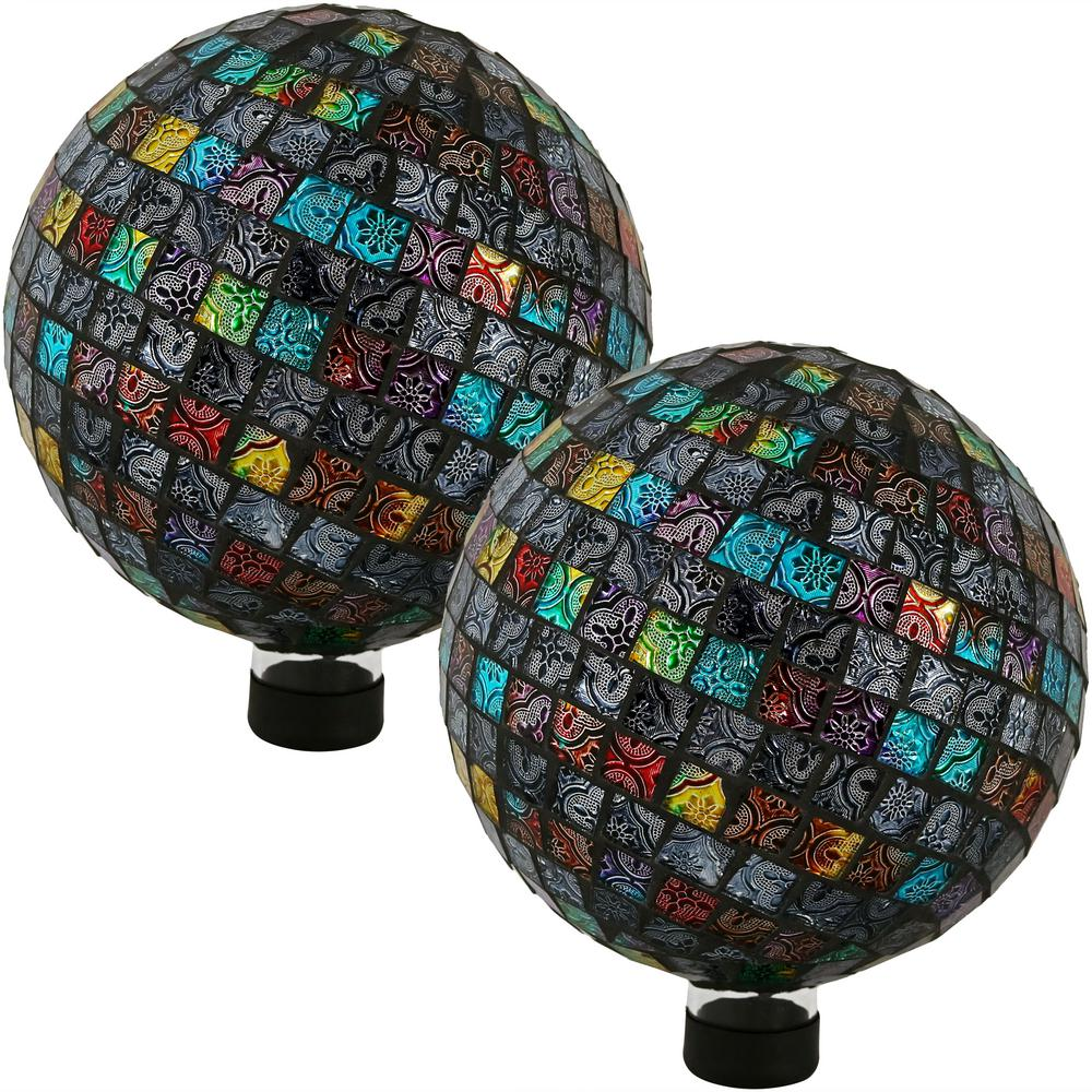 Sunnydaze Decor 10 in. Multi-Colored Tiled Mosaic Outdoor Gazing Globe (Set of 2) Add a backyard accent to any patio or garden with this outdoor gazing ball globe. Made of glass, this gazing globe features a colorful mosaic of tiles. On a bright sunny day, this decorative ball will beautifully reflect sunlight for added visual interest. The bottom of the gazing globe is stemmed with a rubber cap, so it's easier to display in an attractive gazing globe stand (please note, a stand is not included with this globe, stand must be purchased separately). Always store gazing globe indoors before freezing weather occurs to better ensure its longevity.