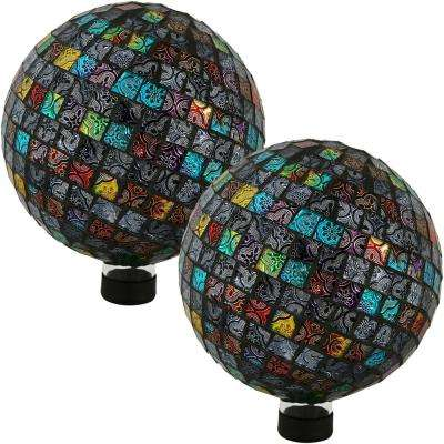 10 in. Multi-Colored Tiled Mosaic Outdoor Gazing Globe (Set of 2)